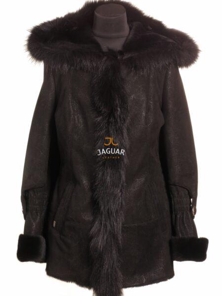 Женская дублёнка короткая MIS2443 black fur