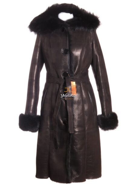 Женская дублёнка длинная AMZ10 black merino