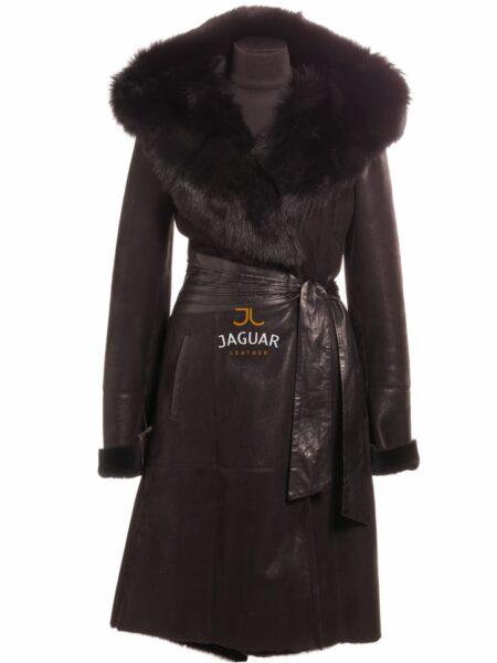 Женская дублёнка длинная FEM5927 black ice