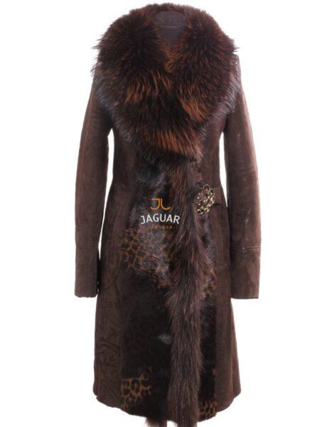 Женская дублёнка длинная AP1174 brown merino