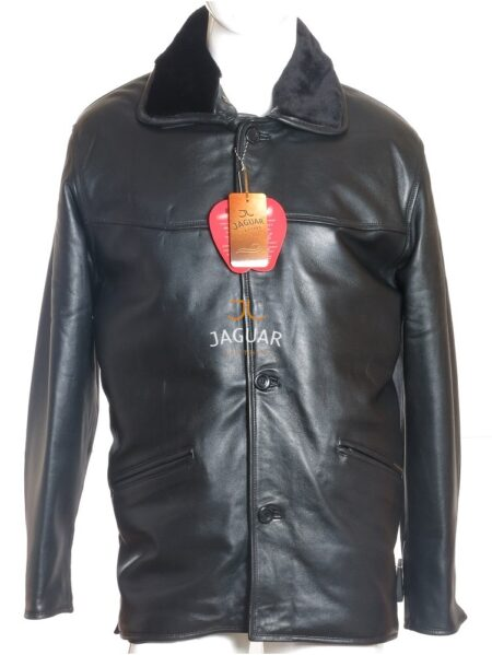 Мужская кожаная куртка длинная WB1202 black zig