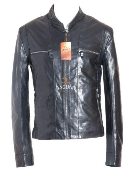 Мужская кожаная куртка короткая AM4144 black nappa