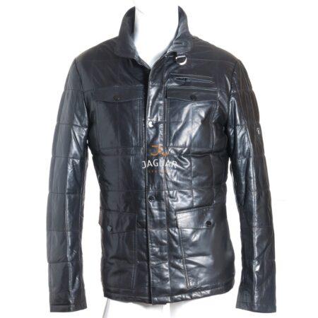 Мужская кожаная куртка длинная AM4212 black wet white