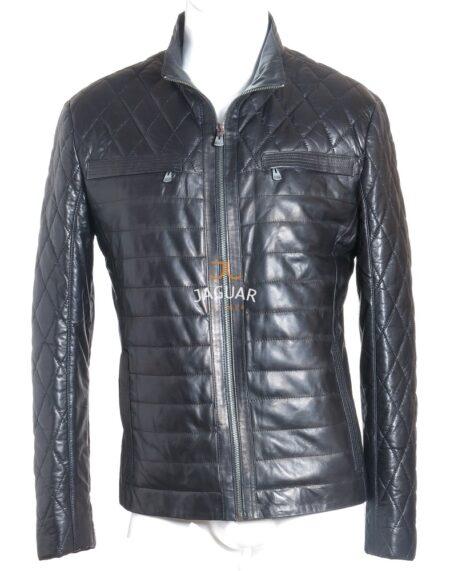 Мужская кожаная куртка короткая AM4272 black w.w.