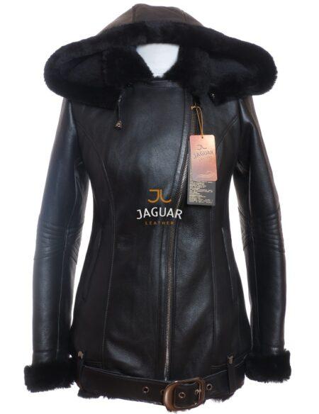 Женская дубленка короткая AMB0056 black silk