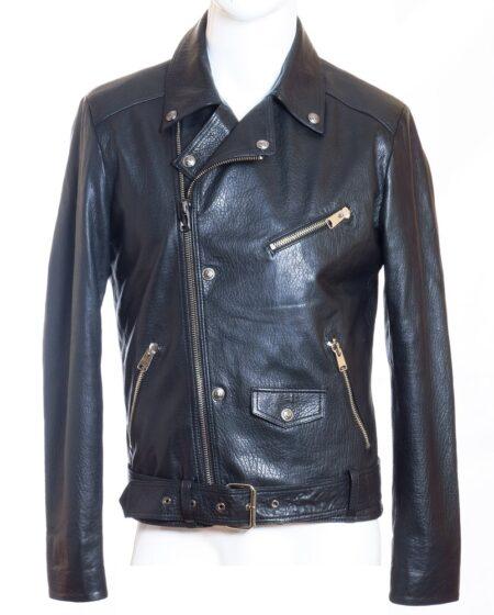 Мужская кожаная куртка короткая AM6003 black lacost